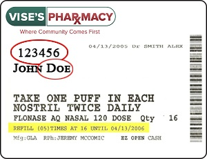 vise's pharmacy label