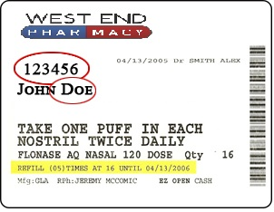 West End Pharmacy Label