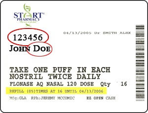 start pharmacy label
