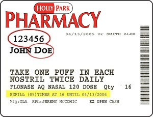 Holly Park Pharmacy Label