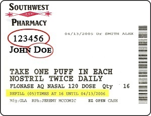 Southwest Pharmacy label