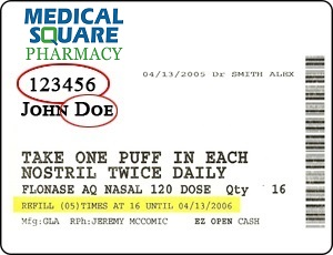 medical square pharmacy label